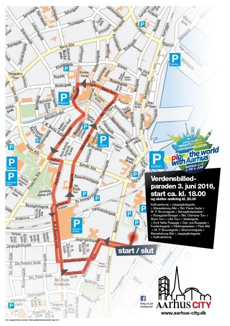 VB-parade 2016, alternativ rute, hvis Jægergårdsgade er lukket